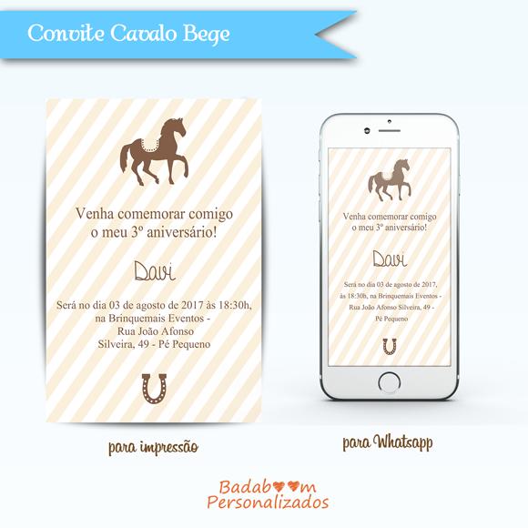 kit de artes digitais para convite no tema Cavalinho Bege
