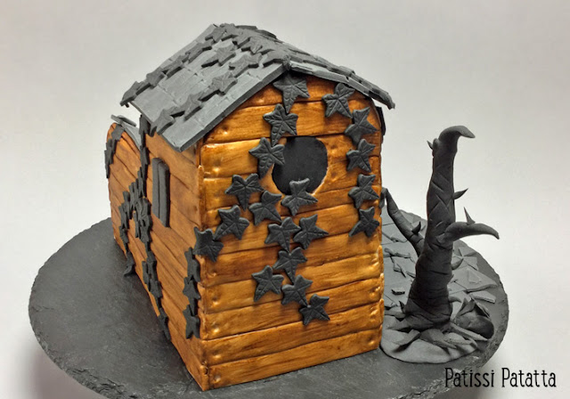 gâteau d'halloween, gâteau maison hantée, maison hantée, recette de gâteau halloween, tutoriel maison en gâteau, tutoriel cake design, tutoriel halloween, ganache chocolat au lait, cake design, pâte à sucre, colorant alimentaire, gum past, fondant, halloween cake, house cake,