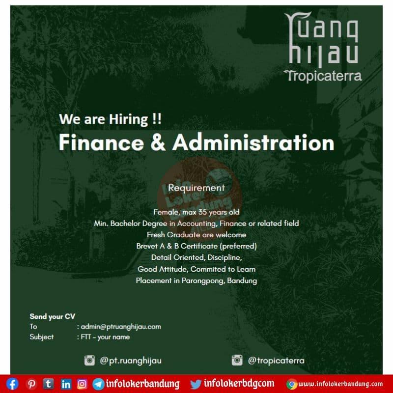 Lowongan Kerja PT. Ruang Hijau ( Tropicaterra) Bandung Juli 2021
