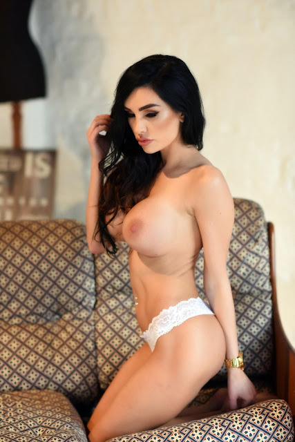Ann Denise White Lingerie boobs naked playing with hair