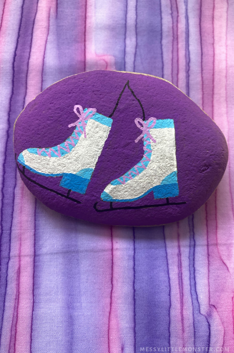 winter rock painting - ice skating craft