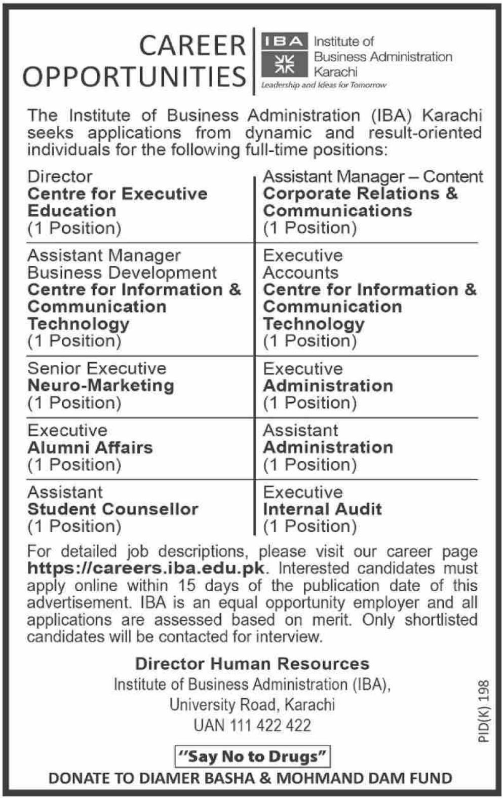 Institute of Business Administration IBA Karachi Jobs 2019