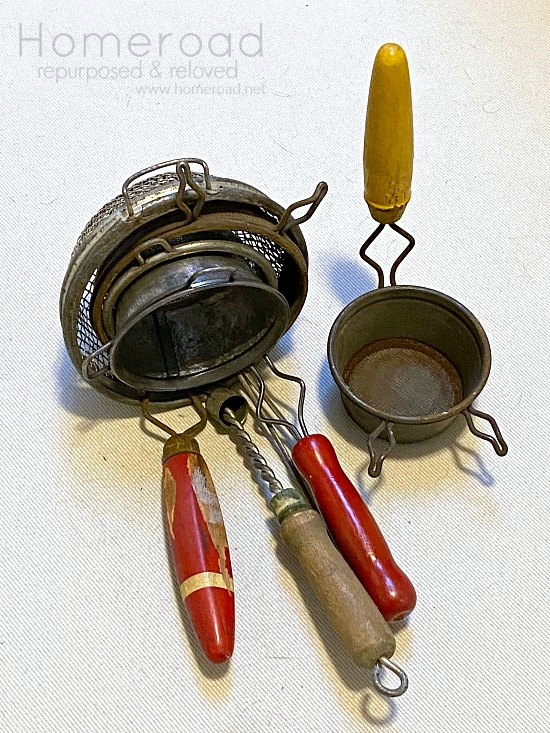 Vintage Kitchen Strainer Collection for Repurposing