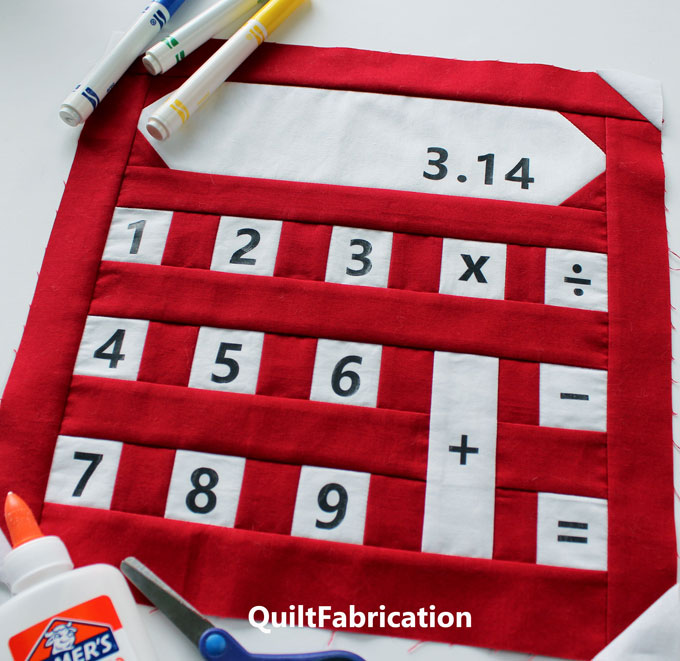 BACK TO SCHOOL-CALCULATOR-QUILT BLOCK-SCHOOL SUPPLY