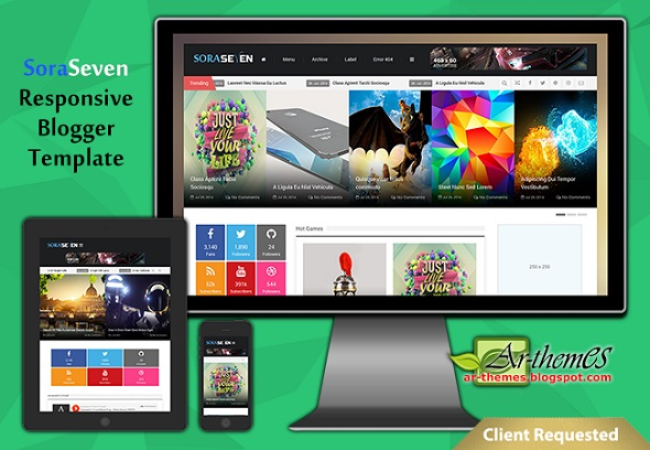 Sora Seven Responsive Blogger Template Preview