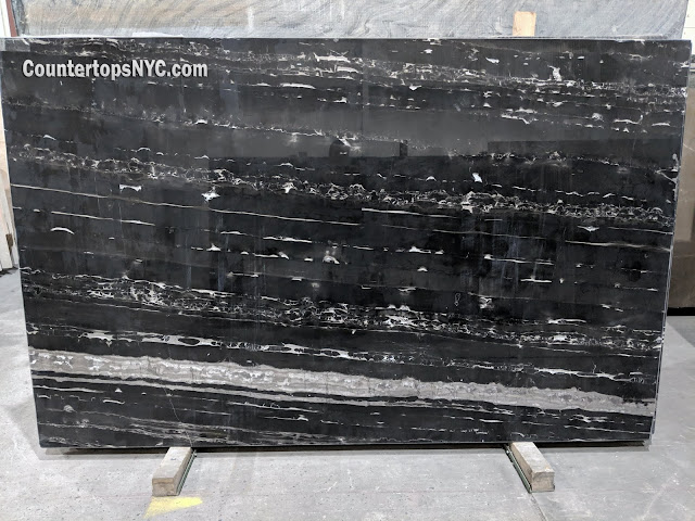 Port Black Polished Marble Slabs NYC