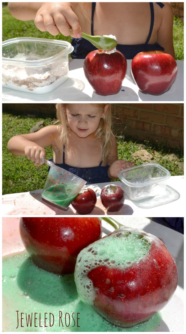 Teach kids about chemical reactions this autumn and make apple volcanoes! Eruption science for preschool. #applevolcanoforkids #applevolcano #applevolcanoexperiment #appleactivitiespreschool #appleactivities #applecrafts #appleexperimentsforkids #appleeruptionexperiment #scienceexperimentskids #growingajeweledrose #activitiesforkids