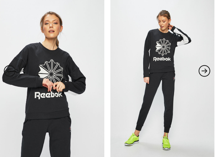 Reebok Classic - Bluza dama neagra originala cu model alb