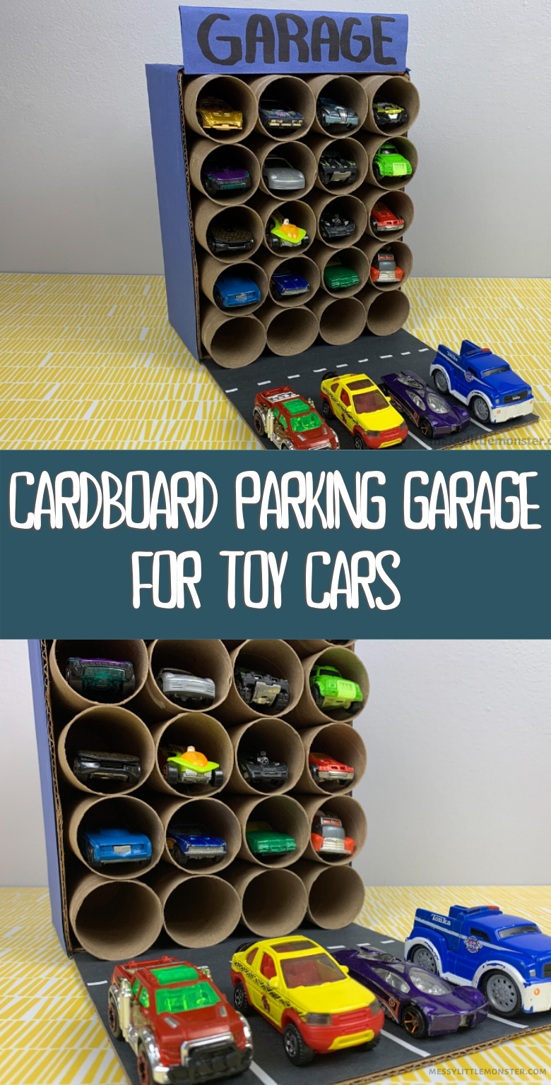 DIY toy car storage. Cardboard parking garage car activities for kids.