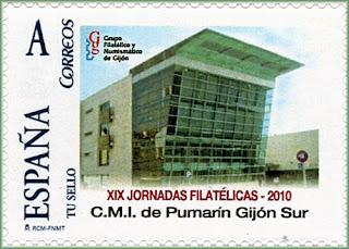 Sello personalizado dedicado al Centro Integrado Pumarín de Gijón