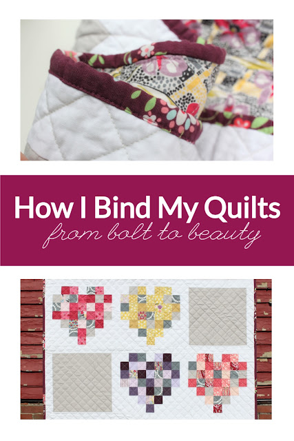 A closeup of a quilt binding and an image of a finished quilt