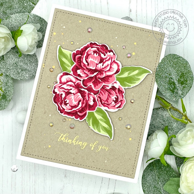 Sunny Studio Stamps: Captivating Camellias Frilly Frame Dies Sympathy Card by Julia Englich