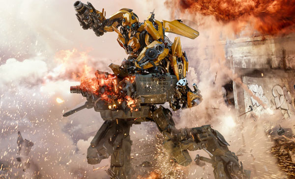 Bumblebee ((voiced by Erik Aadahl) takes down an enemy in TRANSFORMERS: THE LAST KNIGHT (2017)