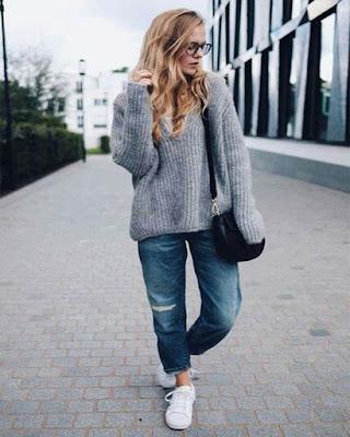 outfit de invierno juvenil con jeans boyfriend