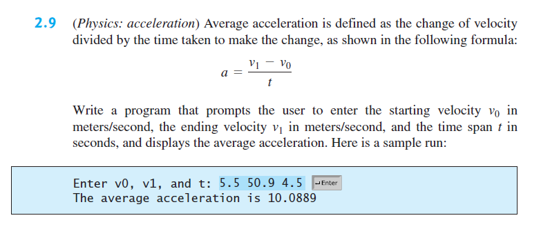 Java Physics Program To Calculate Average Acceleration