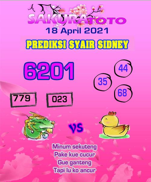 Syair Sakuratoto Sidney Minggu 18 April 2021