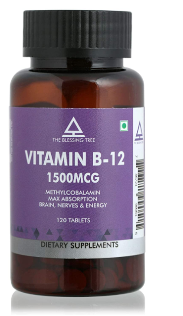 The Blessing Tree Methylcobalamin Vitamin B12 Max Absorption for Brain and Nervous Support-120 veg tablets