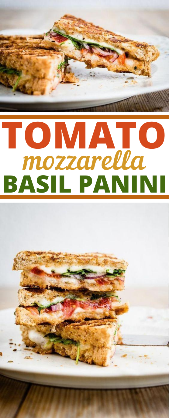 Tomato, Mozzarella, and Basil Panini #vegetarian #lunch #meatless #easy #sandwich