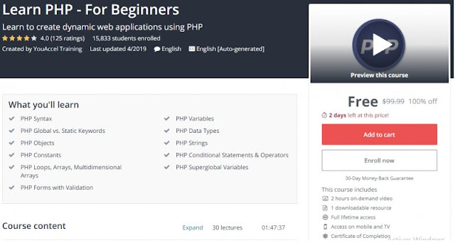 [100% Off] Learn PHP - For Beginners| Worth 99,99$