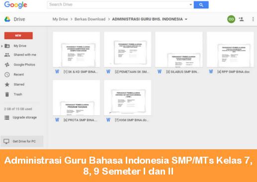 Administrasi Guru Bahasa Indonesia SMP/MTs Kelas 7, 8, 9 Semeter I dan II