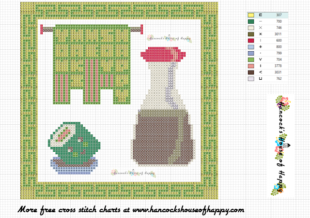 kawaii sushi and soy sauce cross stitch needle point pattern free download