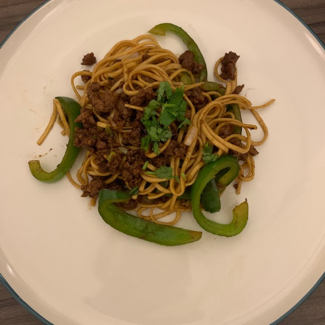Minced pork noodles with green pepper and coriander