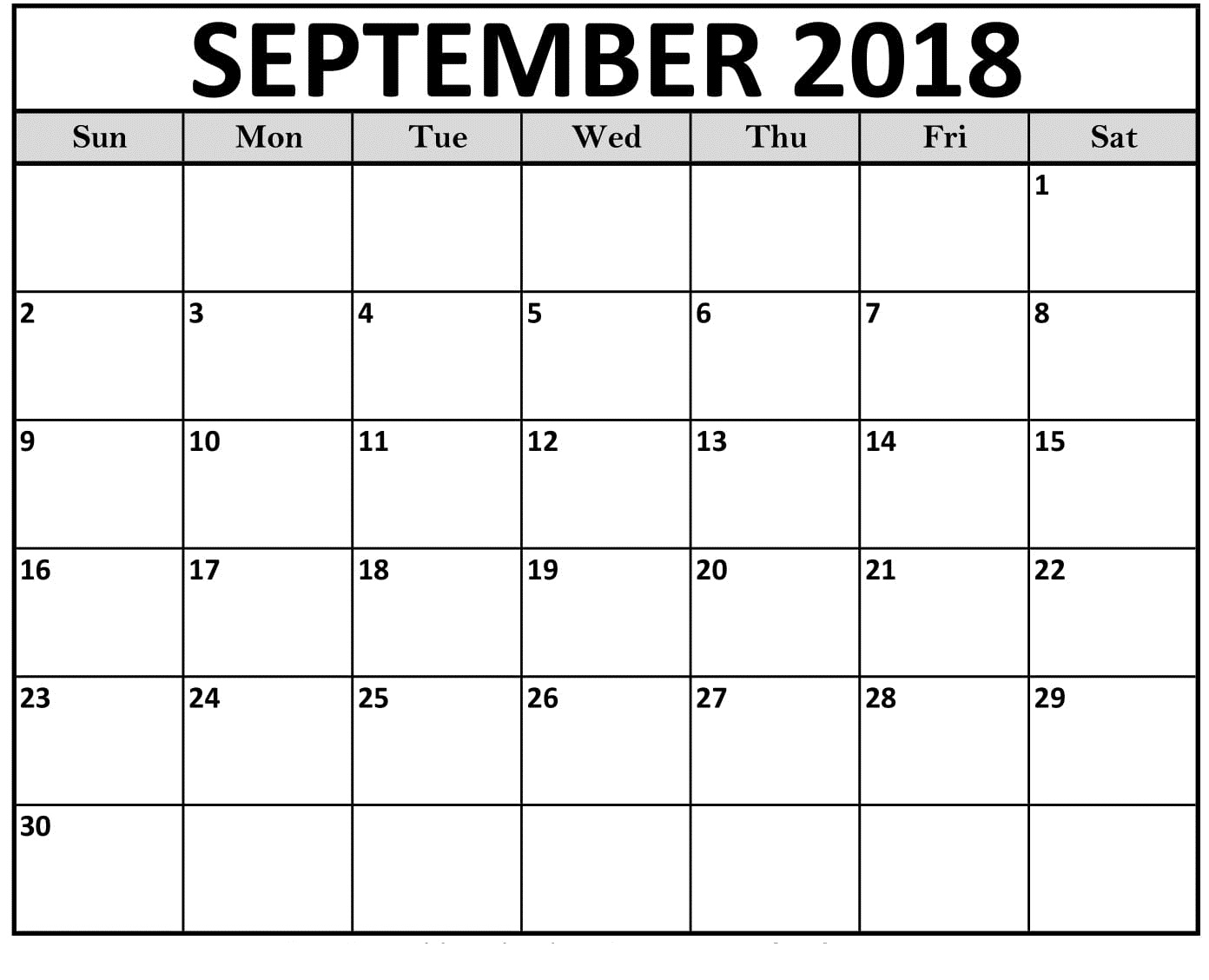 september 2018 editable calendar template