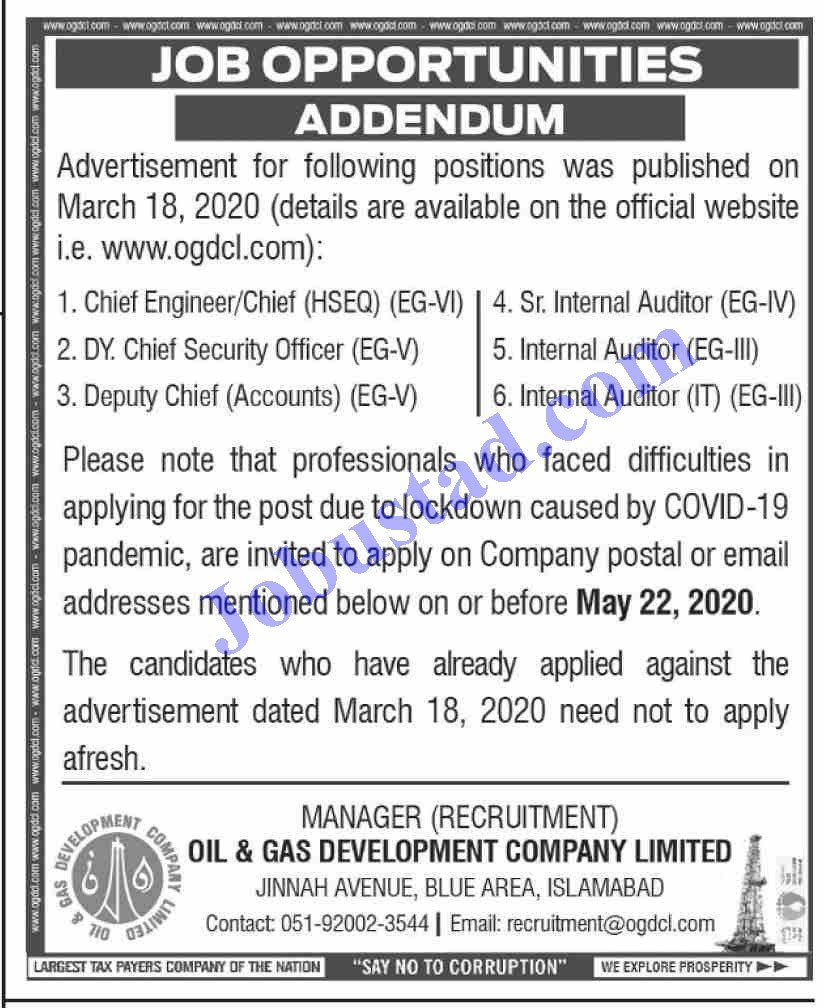 Jobs in Oil and Gas Development Company OGDCL 2020