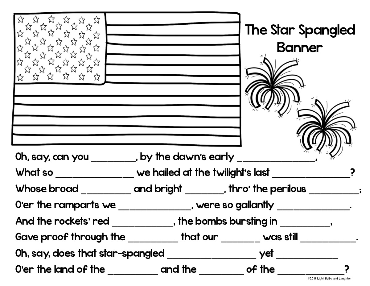 Star Spangled Banner Coloring page/Cloze Activity from Light Bulbs and Laughter