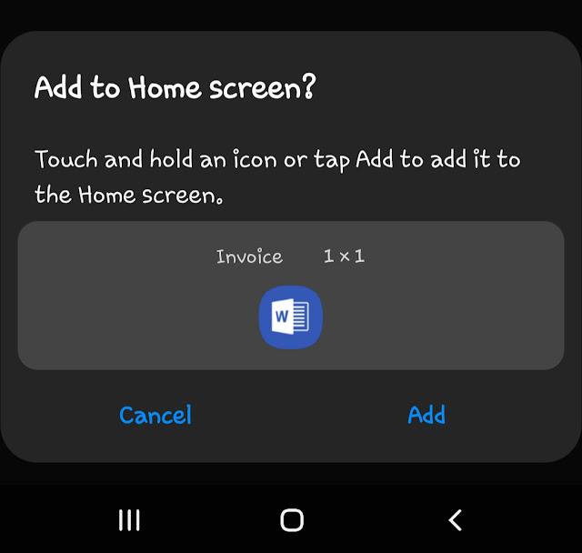 Add shortcut on home screen