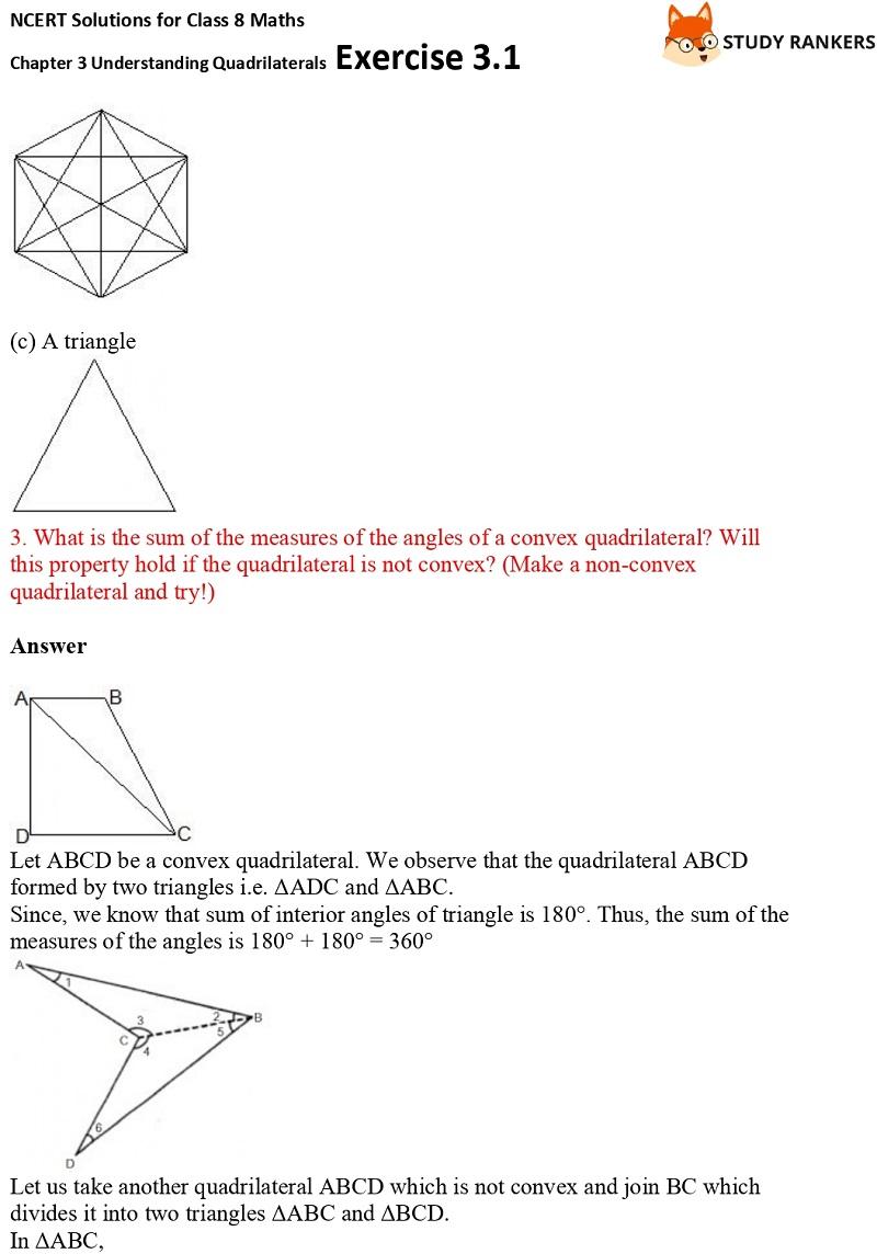 NCERT Solutions for Class 8 Maths Ch 3 Understanding Quadrilaterals Exercise 3.1 2