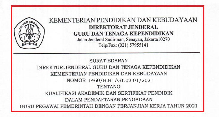 gambar surat dirjen gtk tentang Ijazah guru PPPK 2021