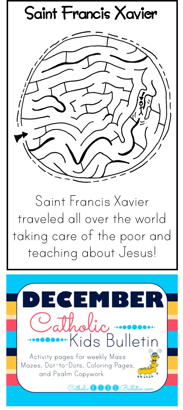 1 December Catholic Kids Bulletin Saint Francis Xavier
