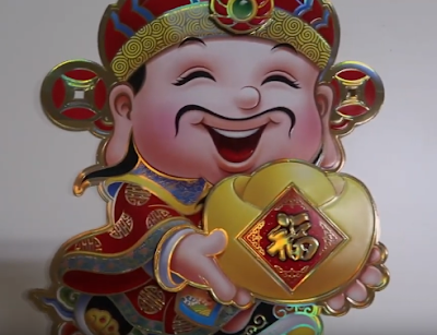 Money Guy Sticker for the decorations during lunar new year in the Vietnam