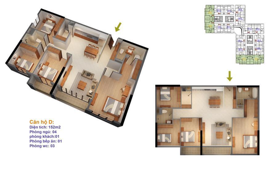 Mặt bằng căn hộ số 03-04-13-14 Ruby 4- Goldmark City 136 Hồ Tùng Mậu