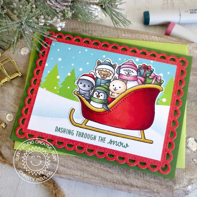 Sunny Studio Stamps: Sledding Critters Frilly Frame Dies Winter Holiday Card by Christy Reuling