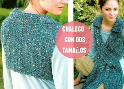 Chaleco crochet corto por detras, largo por delante