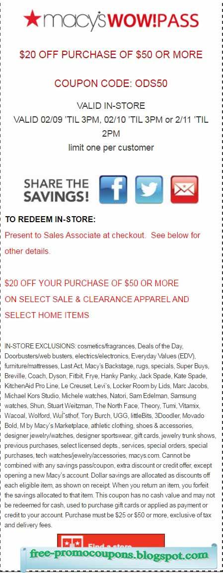 Macy's free shipping coupon code