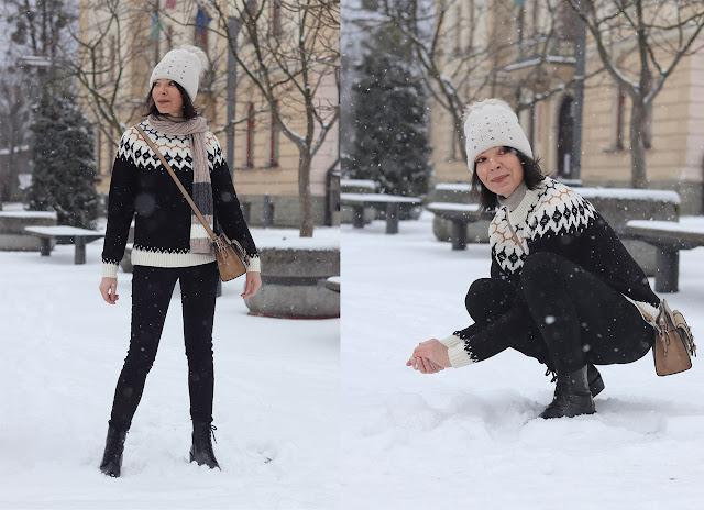 sweter w stylu norweskim stylizacje
