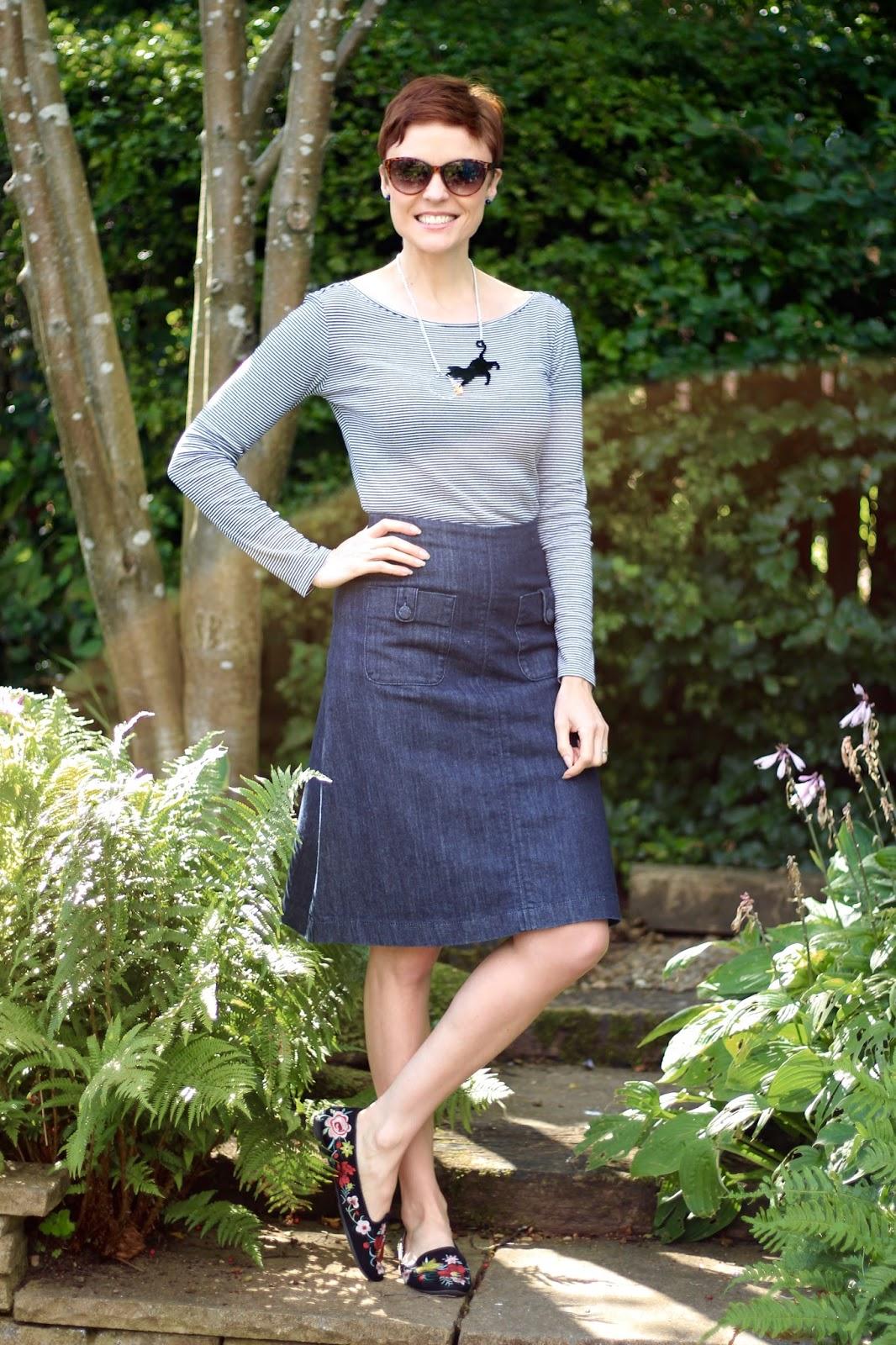 Denim A-line Skirt, embroidered shoes & Breton Stripes | Fake Fabulous