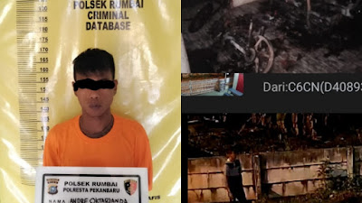 Pemuda Asal Agam Ditangkap Polsek Rumbai Usai Bakar Sepeda Motor dan Mobil X-Trail di Kosan Pekanbaru