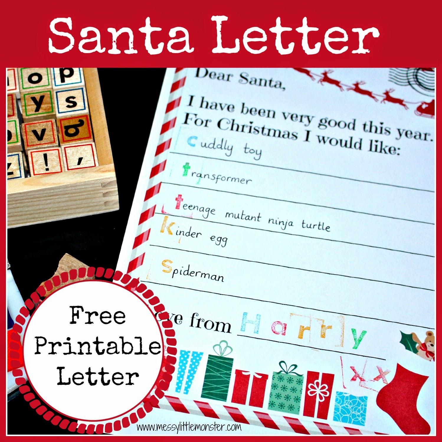 Free printable santa letter. A fun Christmas activity for kids.