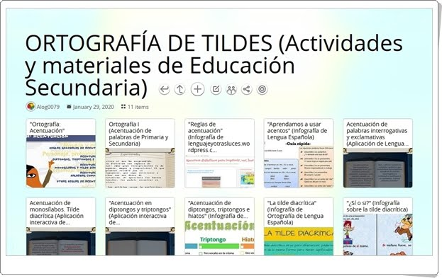 11 actividades y materiales sobre ORTOGRAFÍA DE TILDES de Educación Secundaria