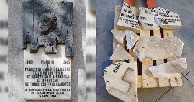Placa destrozada de Francisco Largo Caballero