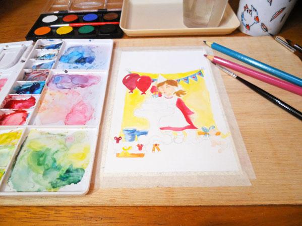 ilustracion con acuarelas en tarjeta de cumpleaños