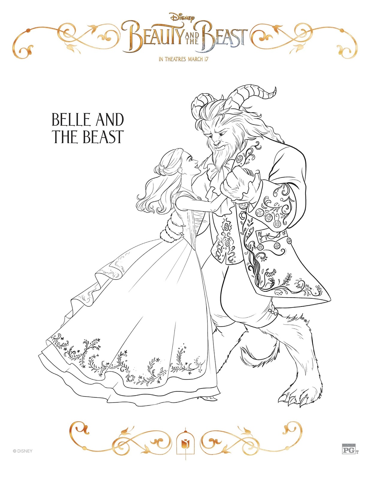 10 free beauty and the beast coloring sheets - Beauty And The Beast Coloring Book