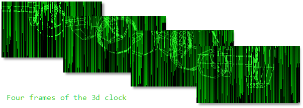 3d clock on top of falling lines