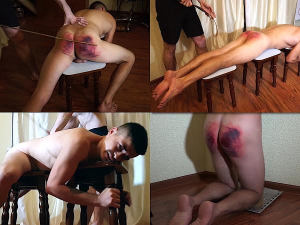 #RusStraightGuys - Thrashing by belt and cane for Dumitru 22 y.o.