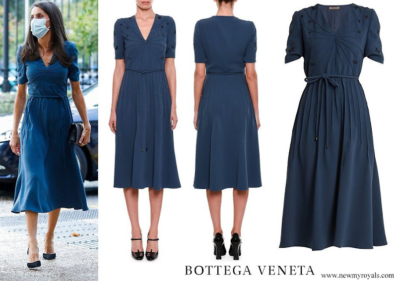 Queen Letizia wore Bottega Veneta v-neck embroidered crepe dress
