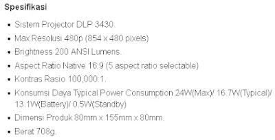spesifikasi Proyektor mini Portable Ben Q GVI